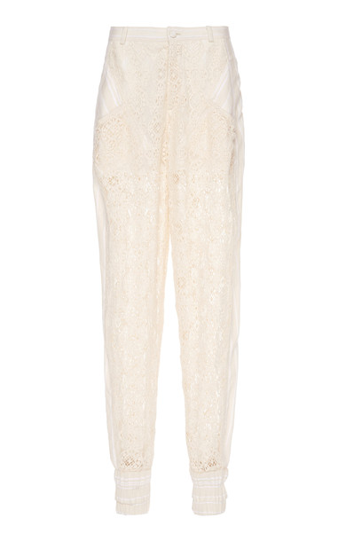 Philosophy di Lorenzo Serafini Cluney Cotton-Blend Lace Pants in neutral