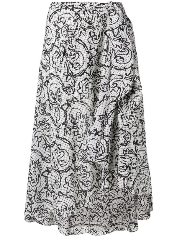 Fendi Pre-Owned 1990's sketch floral skirt in white