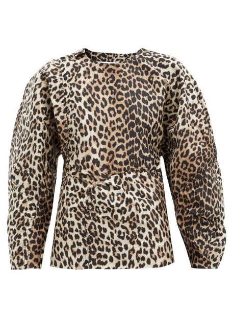 Ganni - Open-back Pannelled Poplin Blouse - Womens - Leopard