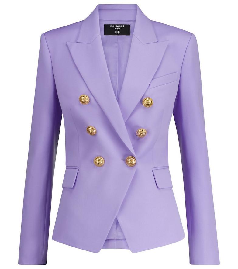Balmain Double-breasted wool blazer in purple