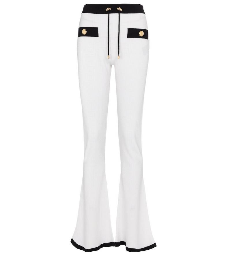 Balmain Flared wool-blend sweatpants in white