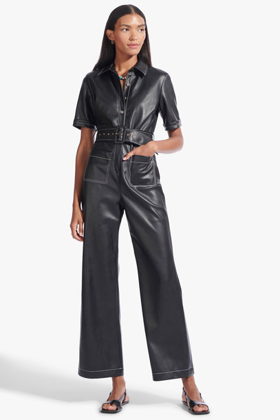 Staud DAVEY JUMPSUIT | BLACK VEGAN LEATHER