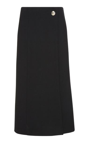 Givenchy Slit Wool-Crepe Midi Wrap Skirt in black