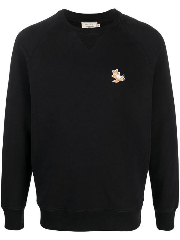 Maison Kitsuné embroidered logo sweatshirt in black