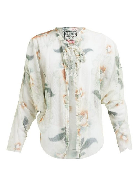 By Walid - Iris Floral Print Cotton Tulle Jacket - Womens - Ivory Multi