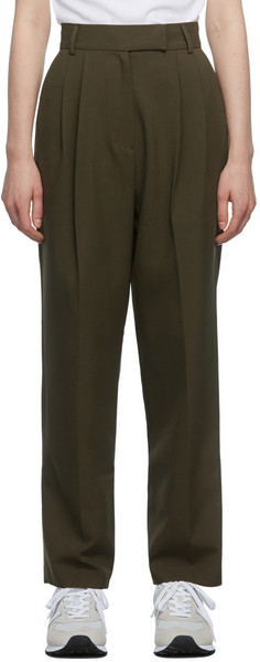 The Frankie Shop Brown Pleated Bea Trousers in chocolate