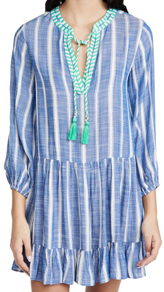 Shoshanna Umbrella Stripe Mini Dress in blue