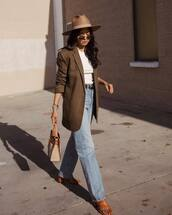jeans,high waisted jeans,straight jeans,blazer,sandals,white t-shirt,belt,bag,hat