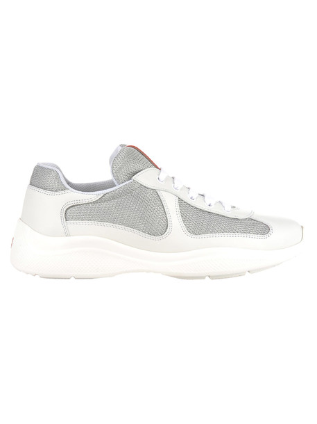Prada Leather And Fabric Sneakers in white