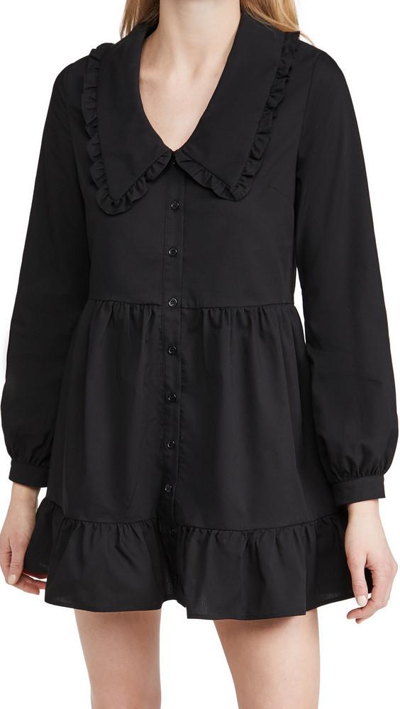 re:named re: named Eli Large Collared Dress in black