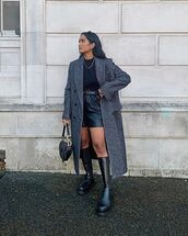 coat,grey coat,long coat,double breasted,zara,black boots,knee high boots,black shorts,leather,black t-shirt,dior bag