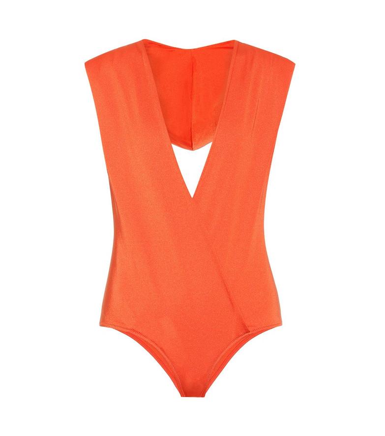 Balmain Hooded wrap swimsuit in orange
