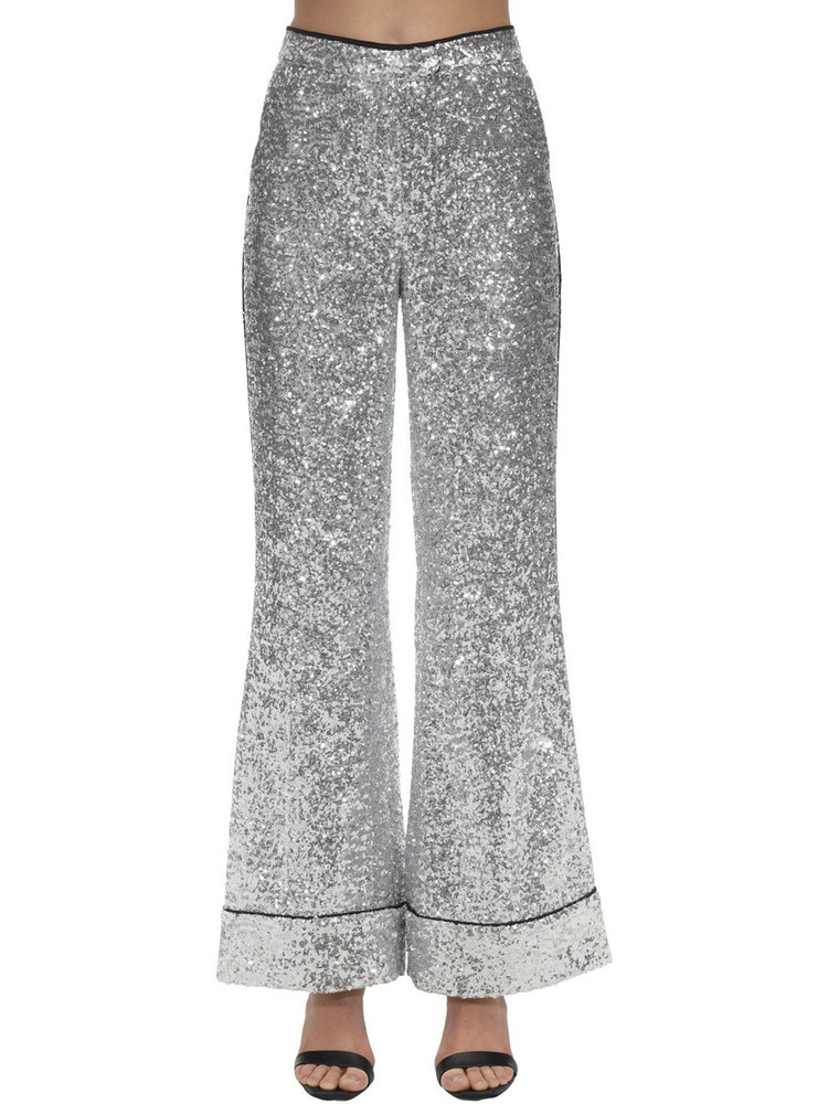 IN THE MOOD FOR LOVE Sequined Flared Pajama Pants in silver