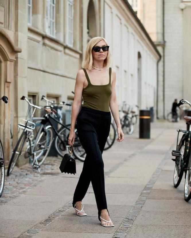shoes white sandals black leggings tank top black bag
