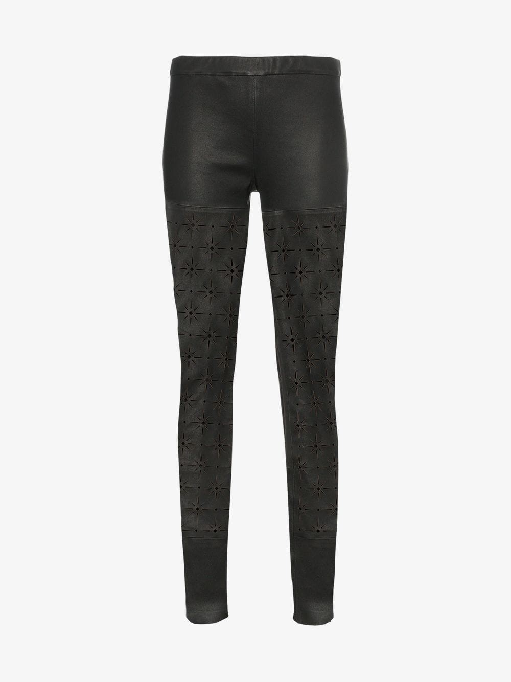 Haider Ackermann High-waisted skinny cutout leather leggings in black
