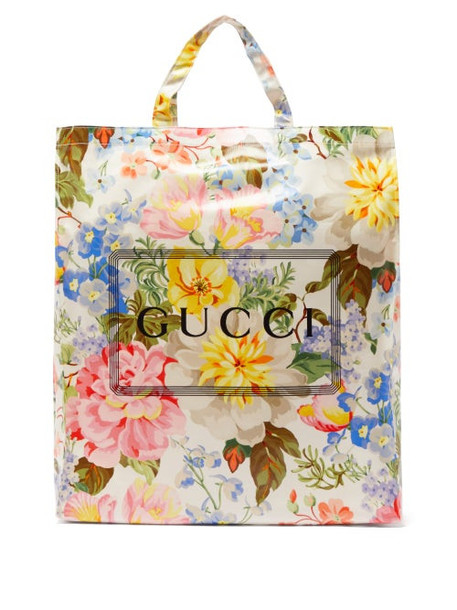 Gucci - Floral Print Coated Cotton Tote Bag - Womens - Multi