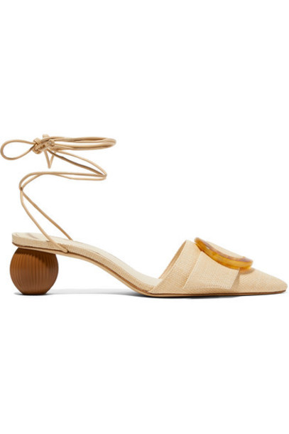 Cult Gaia - Liya Woven Raffia And Leather Pumps - Beige