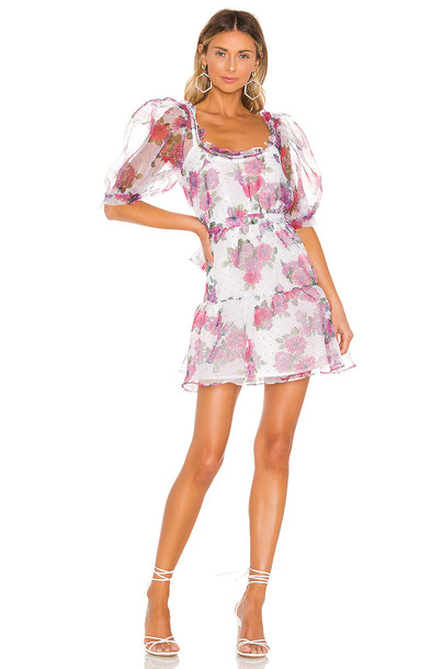 For Love & Lemons X REVOLVE Volume Sleeve Fit And Flare Dress in white