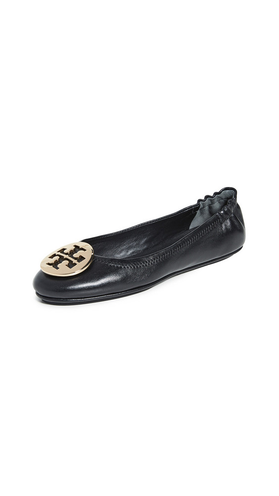 Tory Burch Minnie Travel Ballet Flats in black / gold