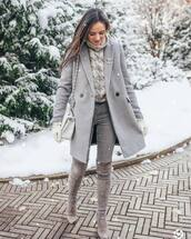 shoes,over the knee boots,suede boots,grey boots,grey jeans,grey coat,white bag,shoulder bag,gloves,turtleneck sweater