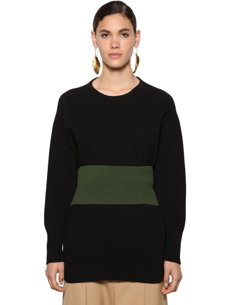MARNI Belted Wool Knit Sweater in black