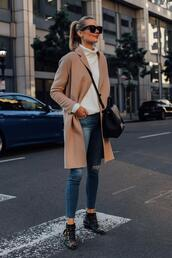 blogger,fashionjackson,coat,sweater,jeans,shoes,bag,sunglasses,turtleneck sweater,winter outfits,ankle boots