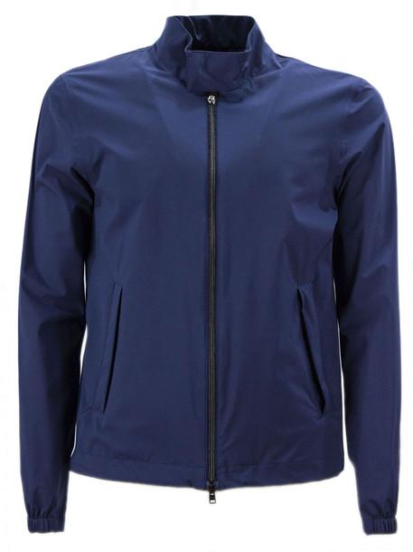 Herno Blue High Tech Fabric Bomber Jacket