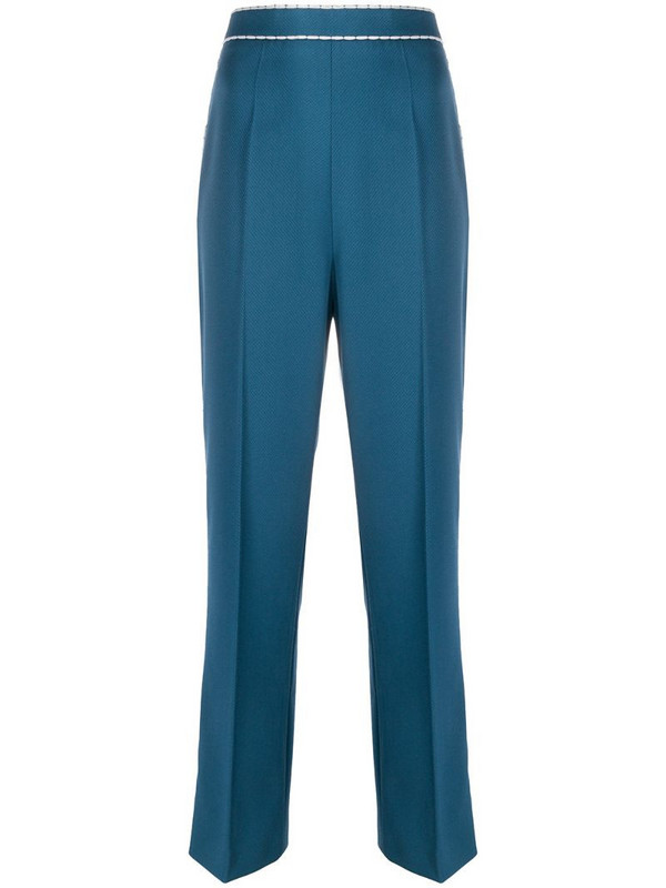 Fendi contrast stitching straight-leg trousers in blue