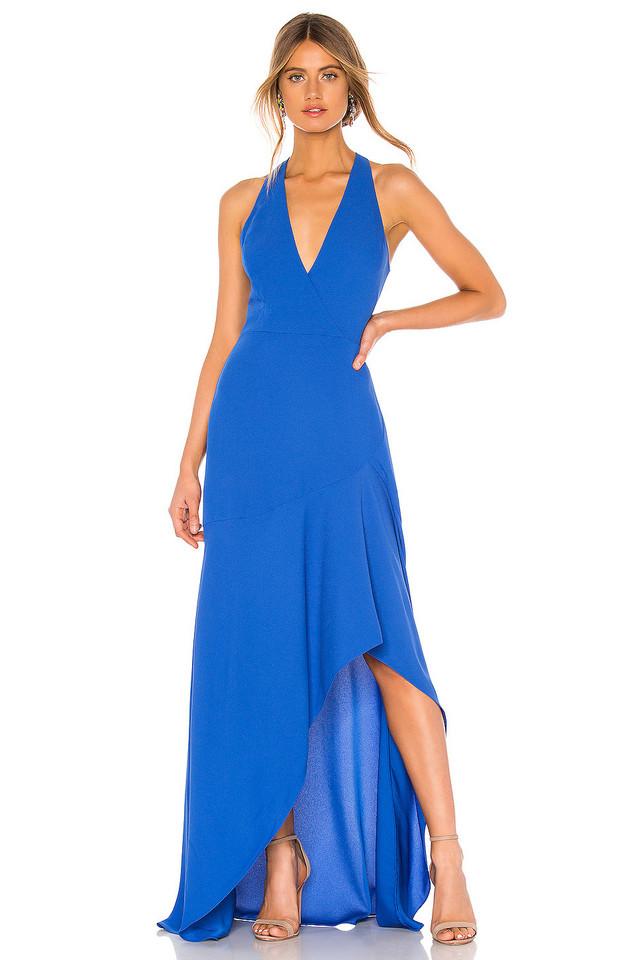 BCBGMAXAZRIA High Low Halter Gown in blue