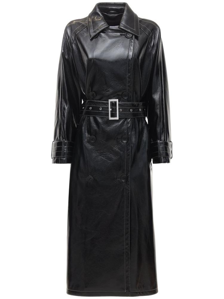 STAND STUDIO Shelby Shrunken Patent Trench Coat in black