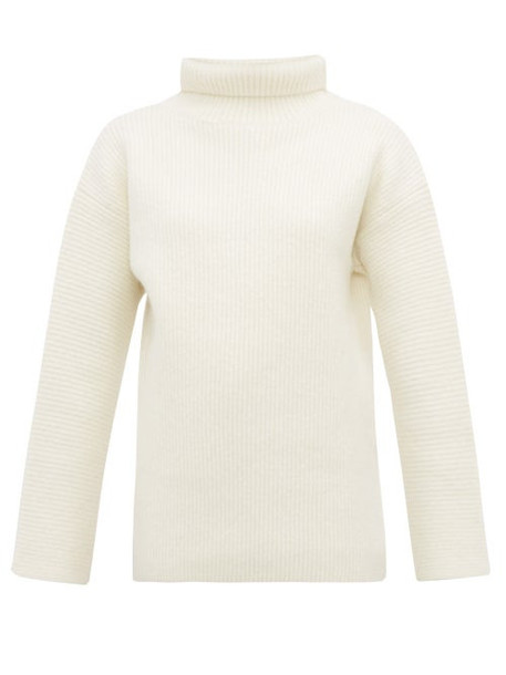 Jacquemus - Agde Ribbed Roll Neck Wool Blend Sweater - Womens - White