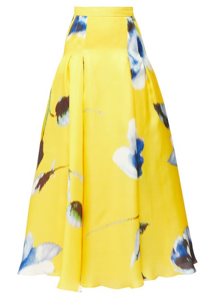 Carolina Herrera - Rose-print Gazar Maxi Skirt - Womens - Yellow Multi