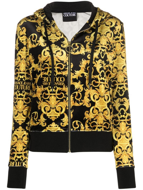 Versace Jeans Couture Logo Baroque-pattern hoodie in black
