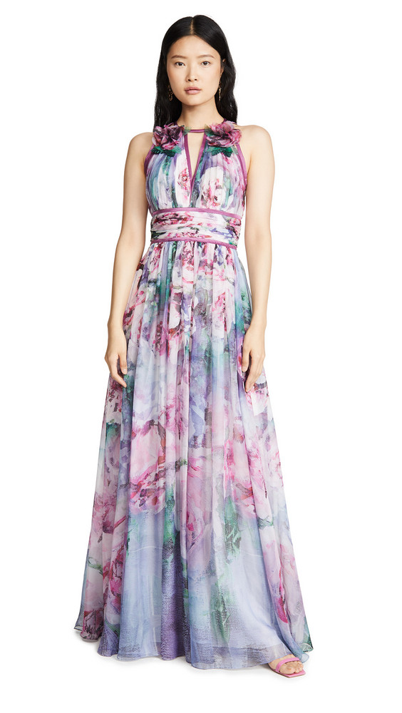 Marchesa Notte Sleeveless Chiffon Gown in lavender