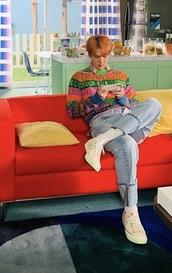 sweater,dior sweater,dior,sehun,kpop,haute couture,fashion,exo,rainbow,neon,zipped,zip,trendy,K-pop,multicolor,long sleeves