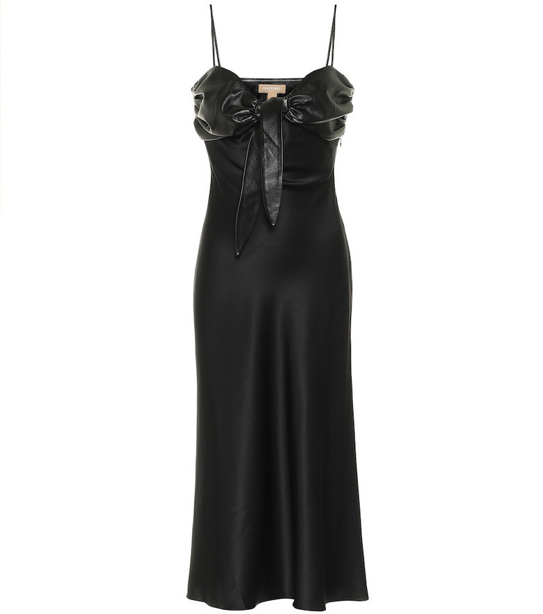 Matériel Tbilisi Faux leather-trimmed silk satin dress in black