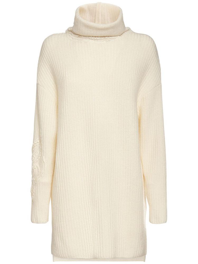 ERMANNO SCERVINO Wool Blend Knit Turtleneck Dress in ivory