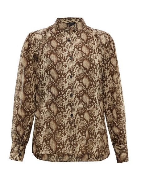 Nili Lotan - Lorena Snake Print Silk Blouse - Womens - Brown Multi