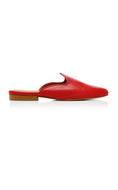 Le Monde Beryl Glossed-Leather Mules in red