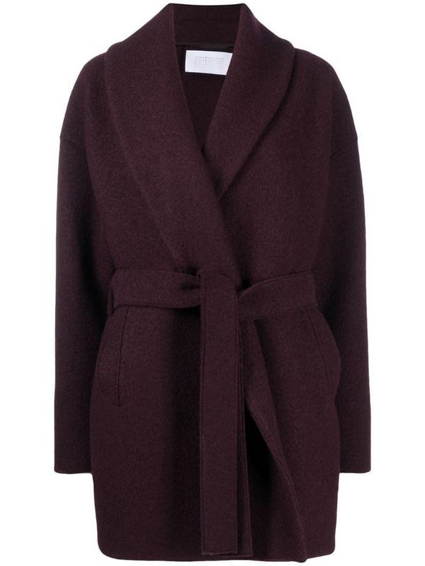 Harris Wharf London wrap coat in red