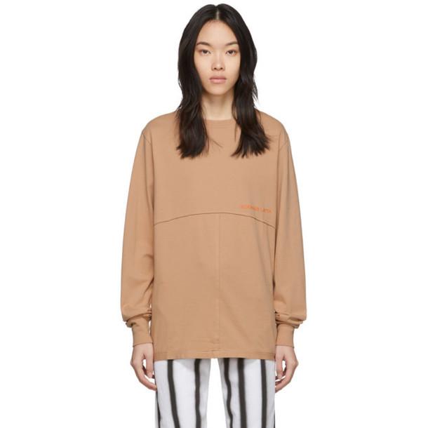 Eckhaus Latta Orange Lapped Long Sleeve T-Shirt