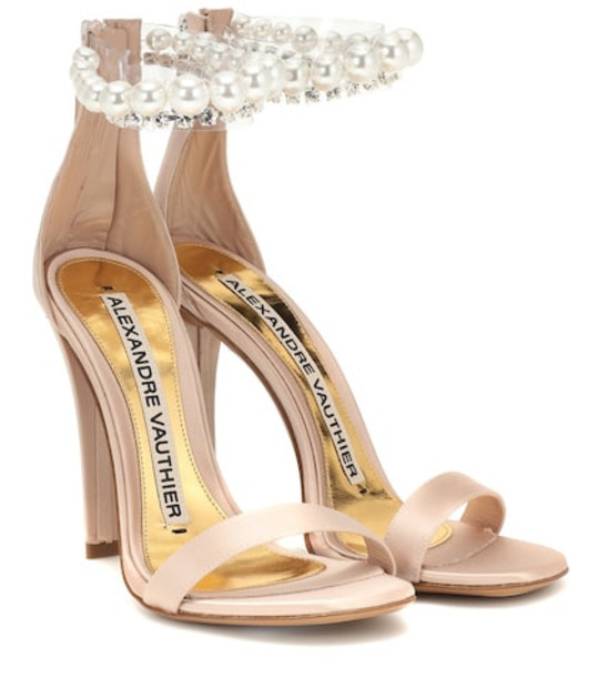 Alexandre Vauthier Roro embellished satin sandals in beige