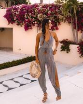 pants,striped pants,jumpsuit,stripes,sandals,wood,handbag
