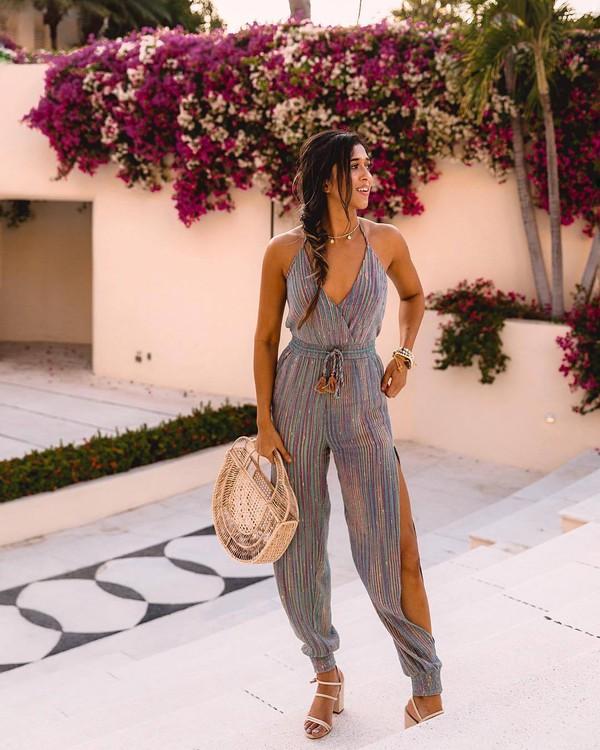 pants striped pants jumpsuit stripes sandals wood handbag