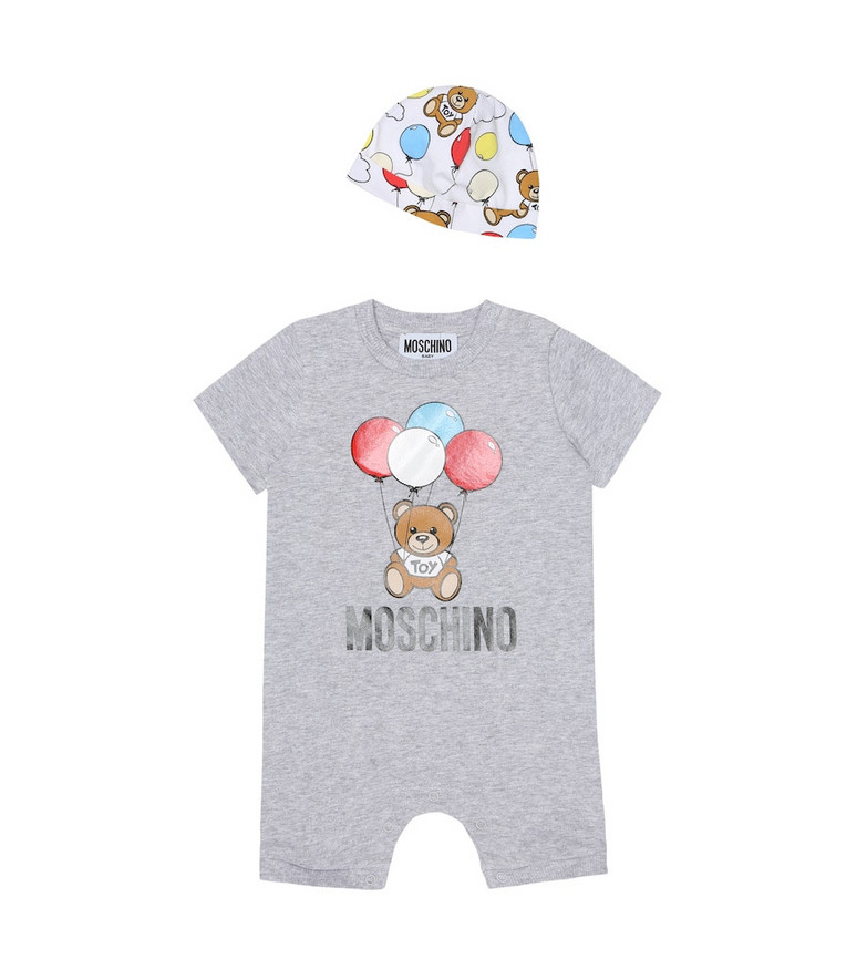 Moschino Kids Baby printed onesie and hat set in grey