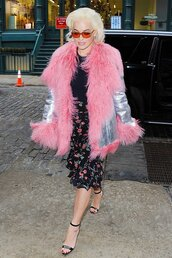 jacket,metallic,pink,skirt,rita ora,midi skirt,celebrity,spring outfits,silver