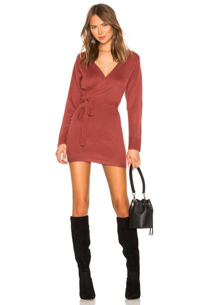 superdown Kina Wrap Sweater Dress in burgundy