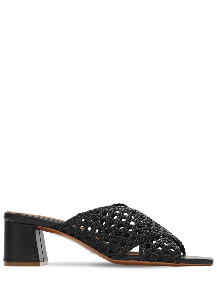 SOULIERS MARTINEZ 50mm Woven Metallic Leather Mules in black