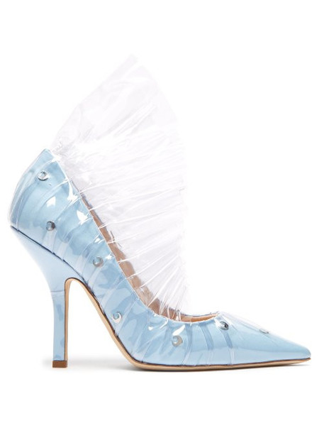 Midnight 00 - Shell Crescent Cotton & Pvc Ruffle Pumps - Womens - Light Blue