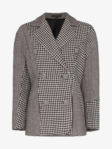 Blindness houndstooth double-breasted coat in black